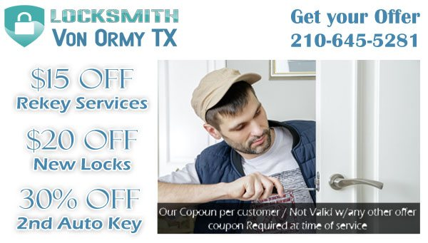 Locksmith Von Ormy TX Coupon